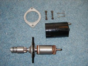 Stripped down starter motor components